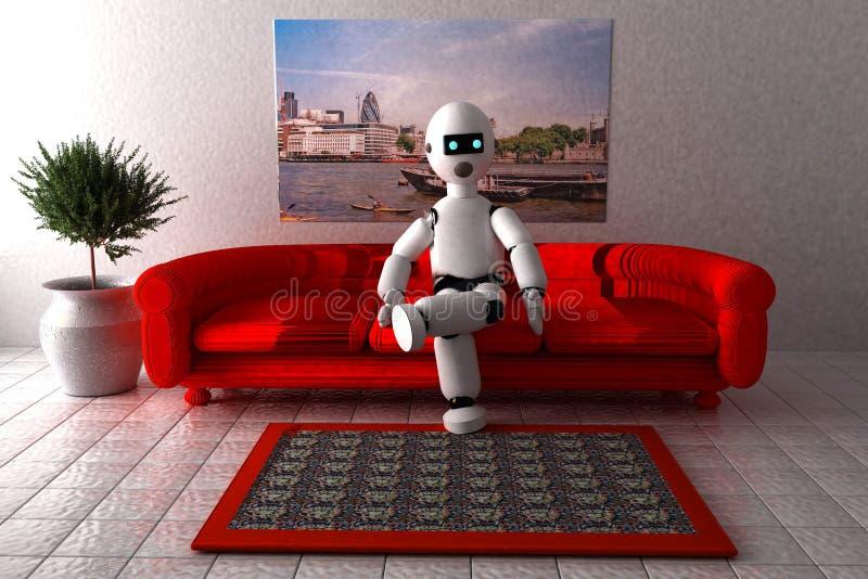 Roboter, der auf einem Sofa sitzt stock abbildung
