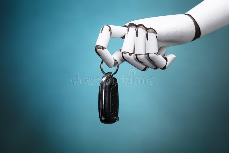 Roboter, der Auto-Schlüssel hält lizenzfreie stockfotografie