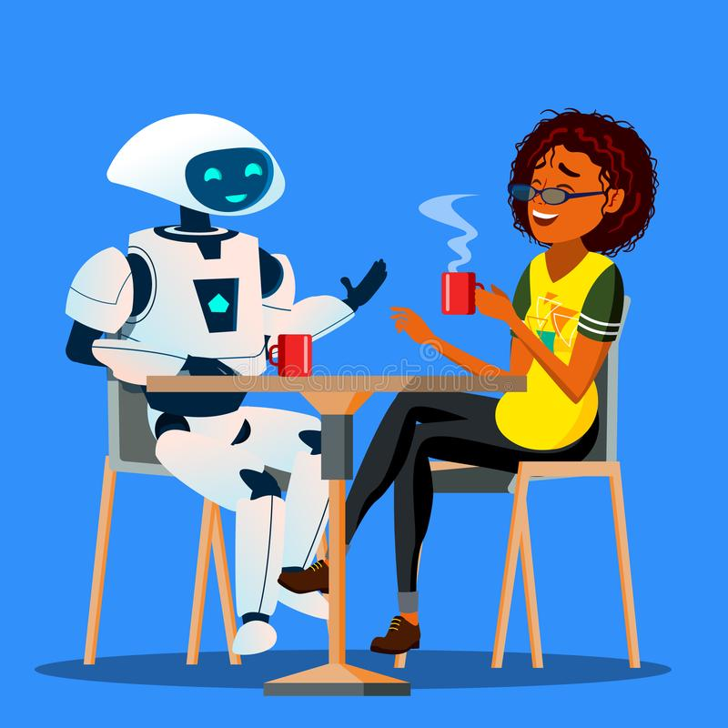 Roboter, der eine gute Zeit mit Freund-Frau bei Tisch im Café-Vektor hat Getrennte Abbildung vektor abbildung