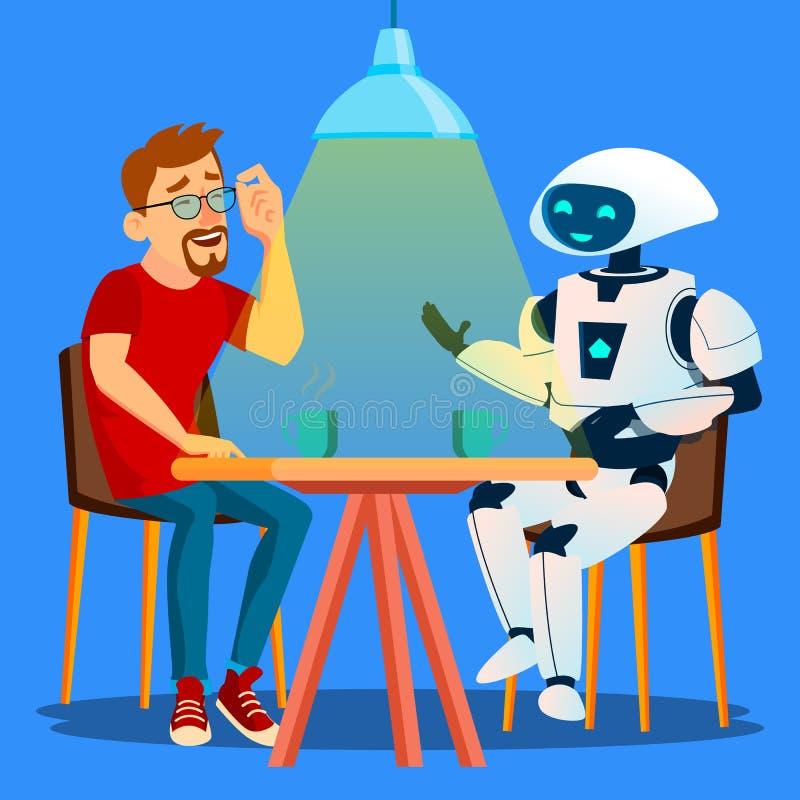 Roboter, der eine gute Zeit mit Freund-Mann bei Tisch im Café-Vektor hat Getrennte Abbildung lizenzfreie abbildung