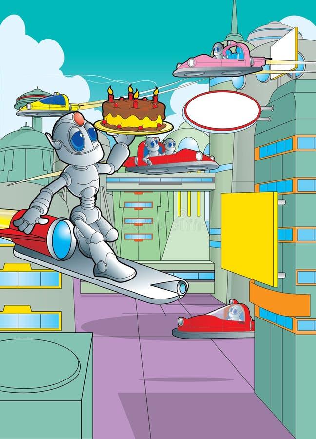 Roboter, der einen Geburtstagskuchen trägt lizenzfreie stockfotos