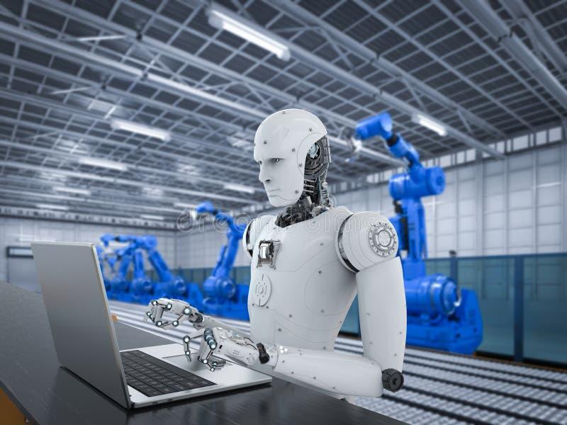 Roboter in der Fabrik stock abbildung