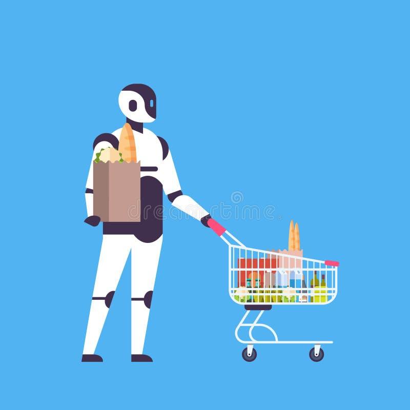 Roboter, der flaches in voller Länge des blauen Hintergrundes der künstlichen Intelligenz des Warenkorbhaus Bothelferkonzeptes hä stock abbildung
