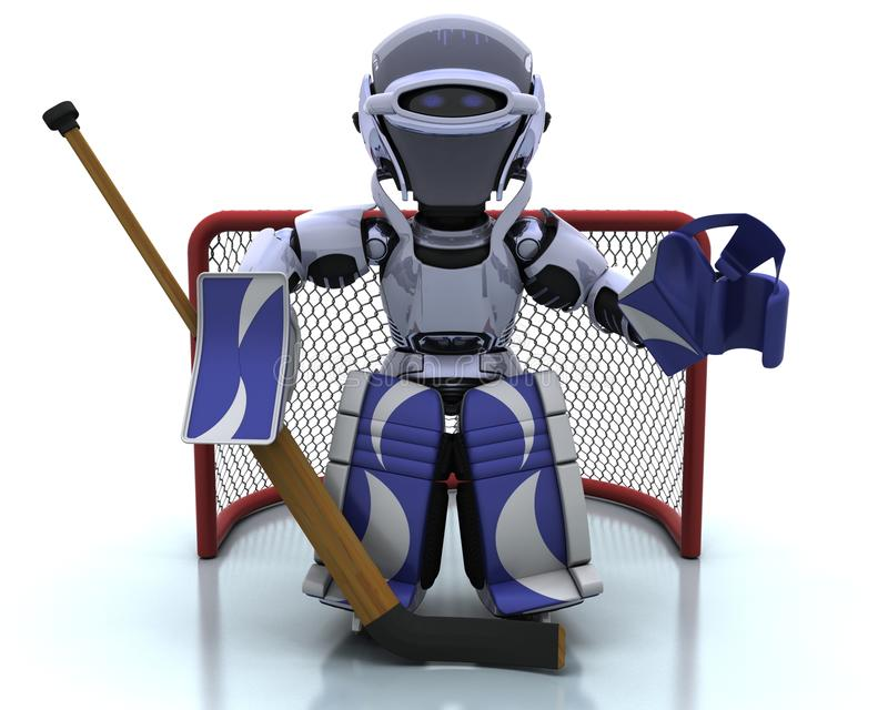 Roboter, der icehockey spielt stock abbildung