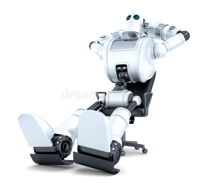 Roboter, der im Bürostuhl sich entspannt Enthält Beschneidungspfad stock abbildung