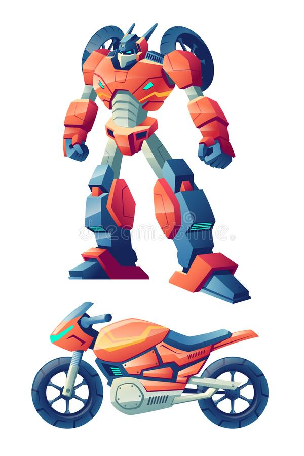Roboter, der im Motorradkarikaturvektor umwandelt vektor abbildung
