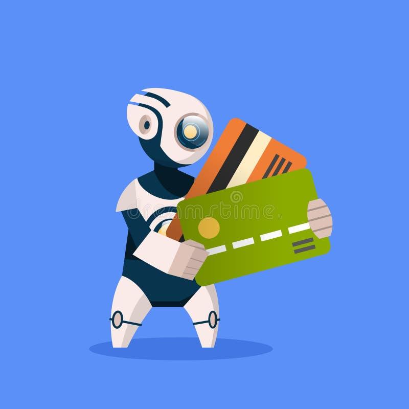 Roboter, der Kreditkarten auf blaues Hintergrund-Konzept-moderner künstliche Intelligenz-Computer-Zahlungs-Technologie hält lizenzfreie abbildung