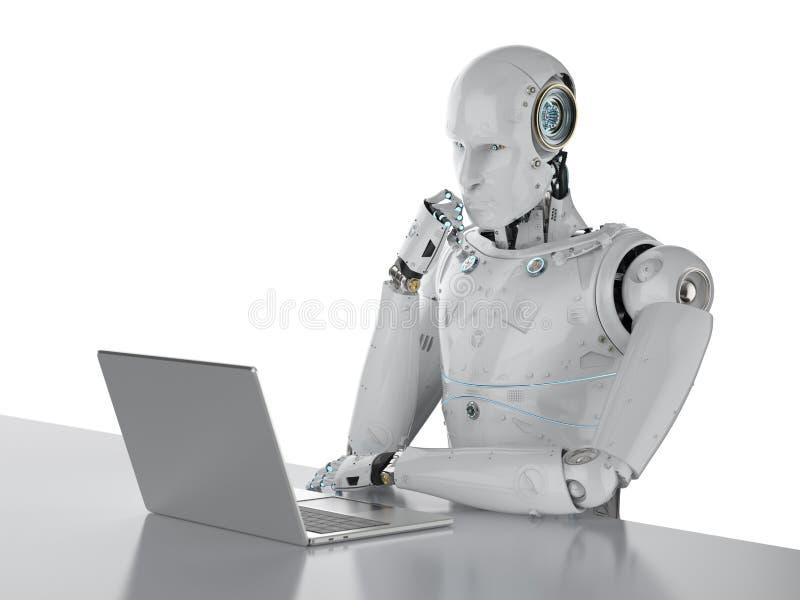 Roboter, der an Laptop arbeitet stock abbildung
