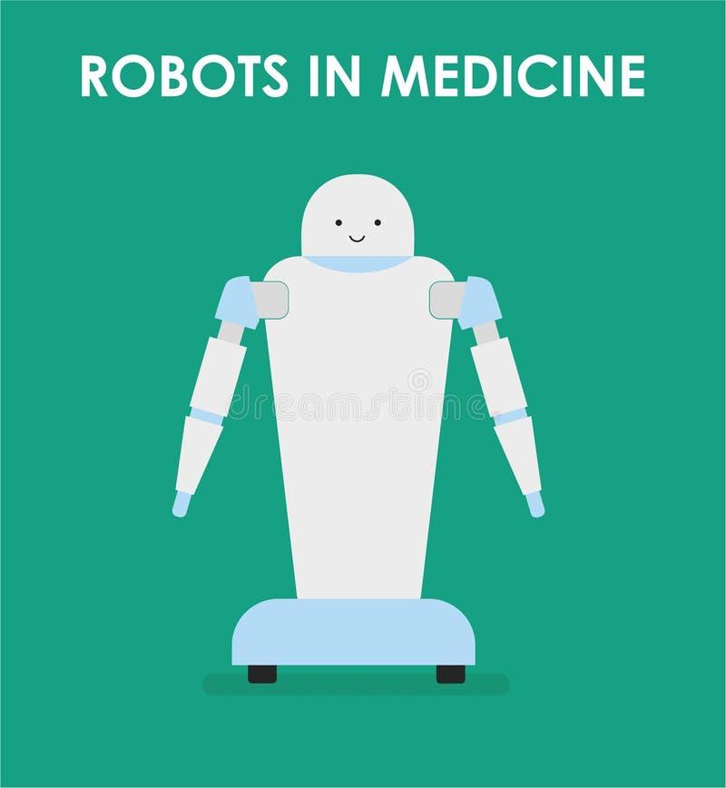 Roboter in der Medizin Roboterkrankenschwester stock abbildung