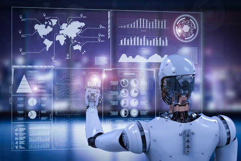 Roboter, der mit Digitalanzeige arbeitet lizenzfreie stockbilder