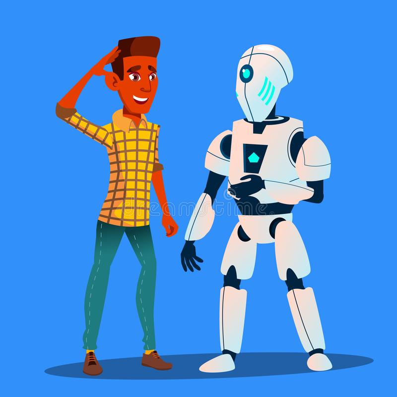 Roboter, der mit Freund-Mann-Vektor spricht Getrennte Abbildung stock abbildung