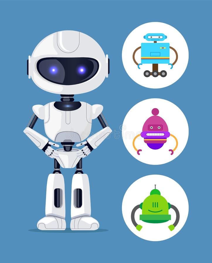 Roboter, der ruhig eingestellte Vektor-Illustration steht stock abbildung