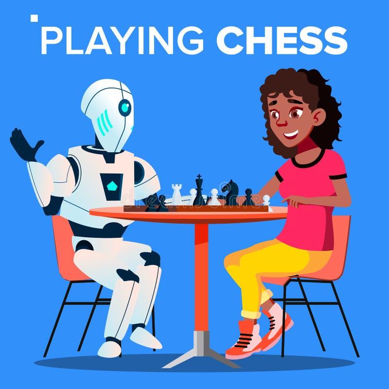Roboter, der Schach mit Frauen-Vektor spielt Getrennte Abbildung lizenzfreie abbildung