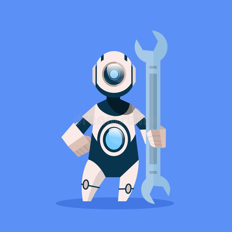 Roboter, der Schlüssel Cyborg lokalisiert auf blaues Hintergrund-Konzept-moderner künstliche Intelligenz-Technologie hält vektor abbildung