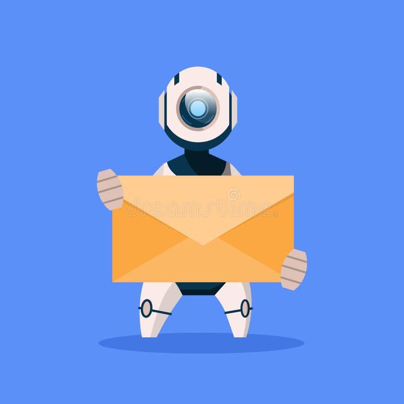 Roboter, der Umschlag lokalisiert auf blaues Hintergrund-Konzept-moderner künstliche Intelligenz-Technologie hält lizenzfreie abbildung