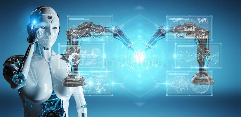 Roboter der weißen Frau unter Verwendung der Robotikarme mit digitalem Schirm 3D ren lizenzfreie abbildung