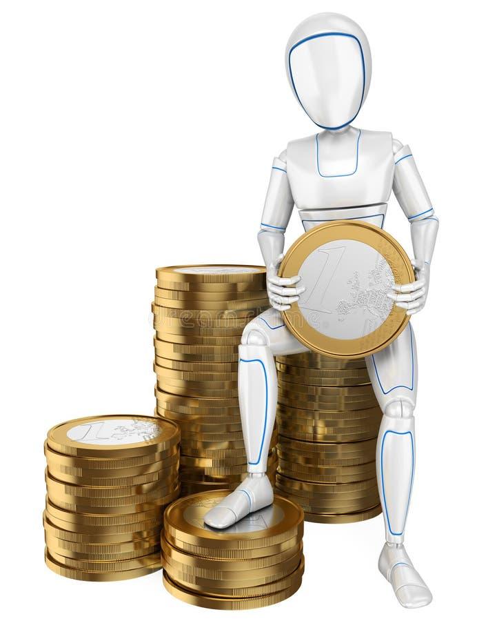 Roboter des Humanoid 3D, der auf einem Stapel von Euromünzen sitzt stock abbildung
