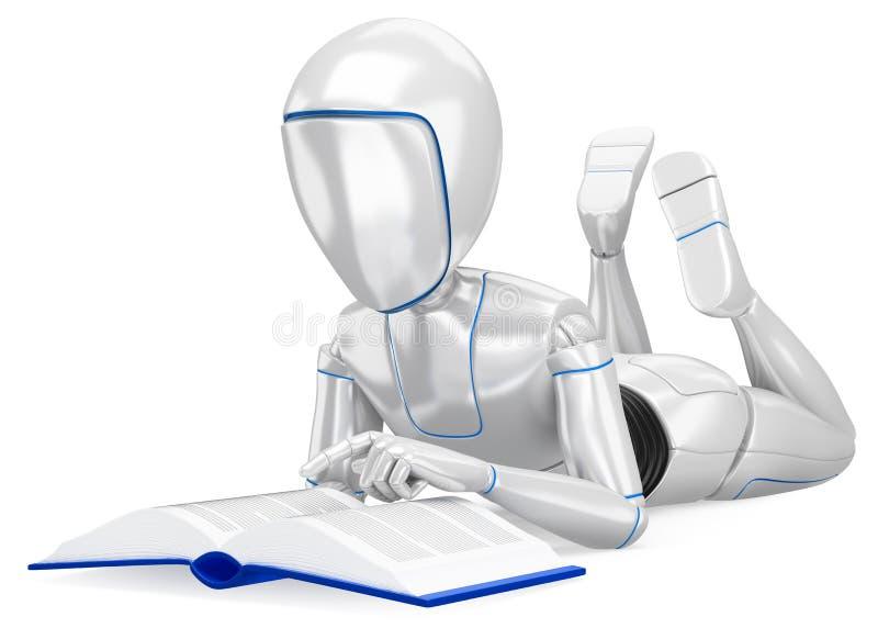 Roboter des Humanoid 3D, der ein Buch lesend liegt lizenzfreie abbildung