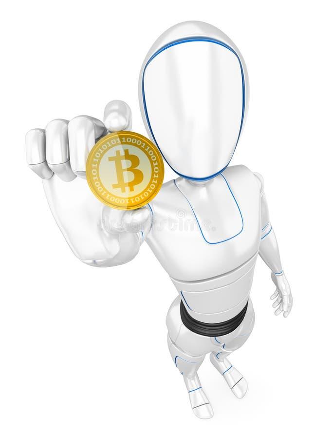 Roboter des Humanoid 3D, der ein cryptocurrency bitcoin gewinnt vektor abbildung