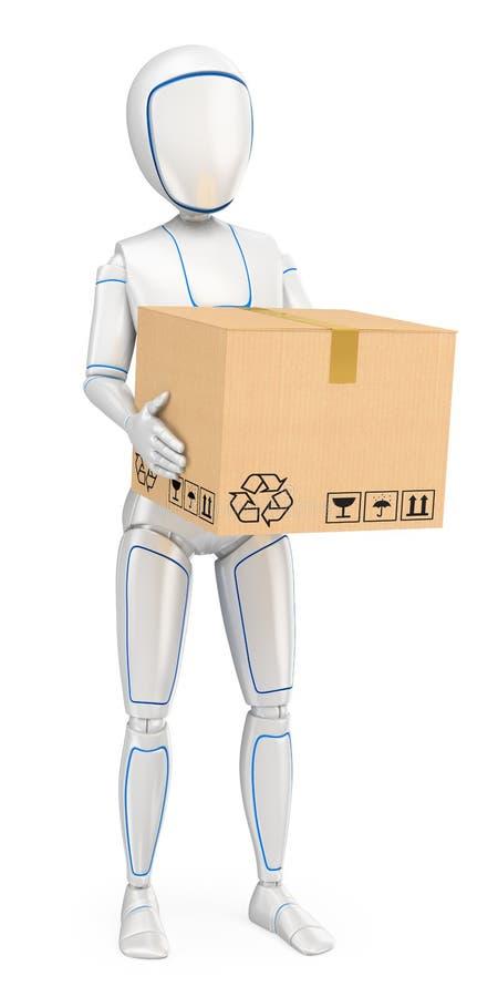 Roboter des Humanoid 3D, der ein Paket liefert lizenzfreie abbildung