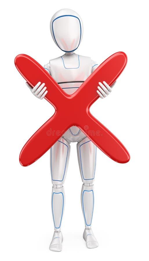 Roboter des Humanoid 3D, der mit einem großen roten Kreuz steht vektor abbildung