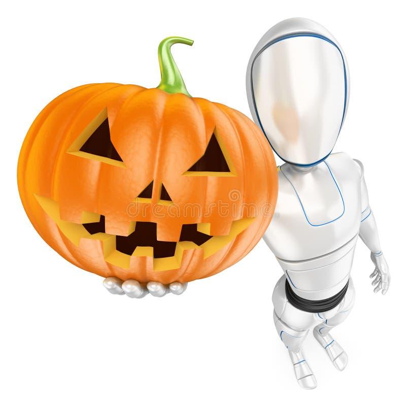 Roboter des Humanoid 3D mit einem großen Kürbis Halloween vektor abbildung