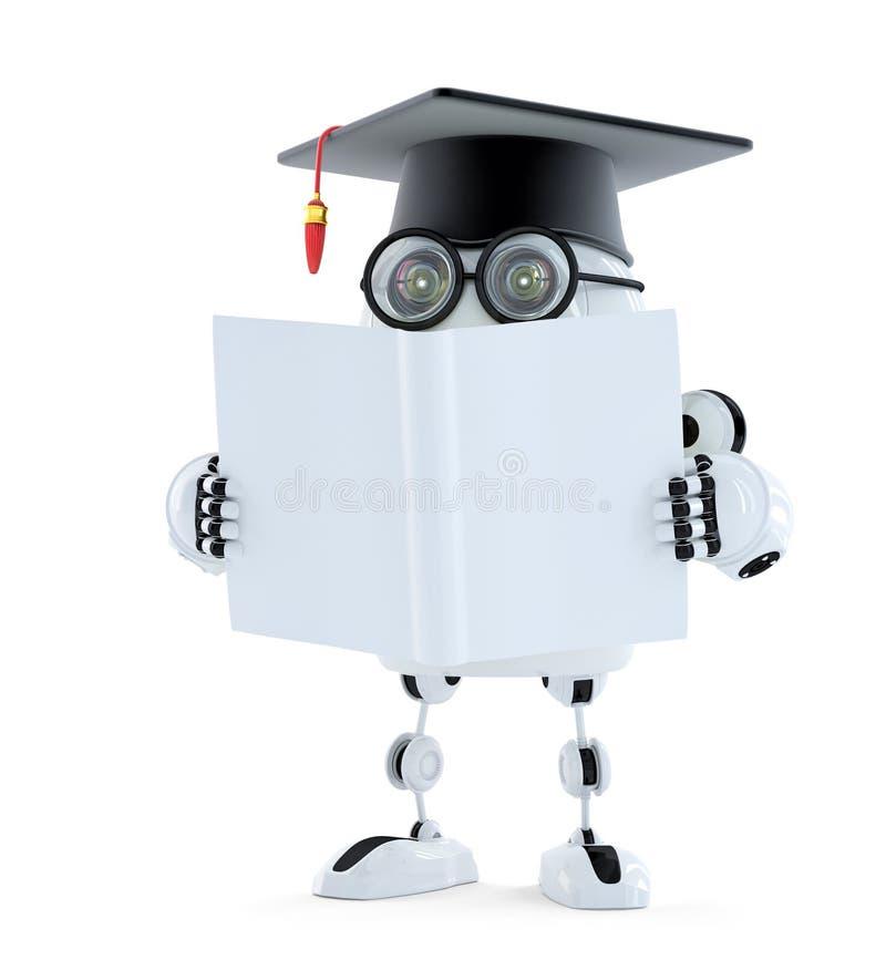Roboter des Studenten 3d mit leerem Buch Getrennt Enthält Beschneidungspfad des Roboters und des Buches stock abbildung