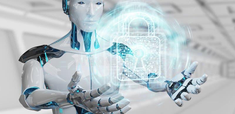 Roboter des weißen Mannes, der Wiedergabe der digitalen Daten 3D sichert lizenzfreie abbildung