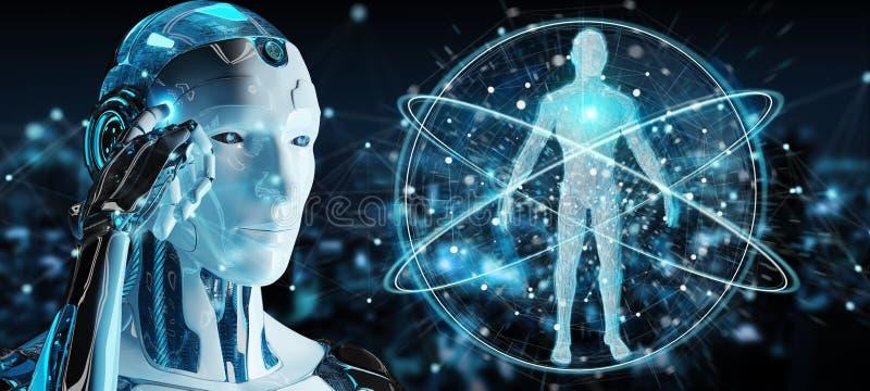 Roboter des weißen Mannes, der Wiedergabe des menschlichen Körpers 3D scannt lizenzfreie abbildung