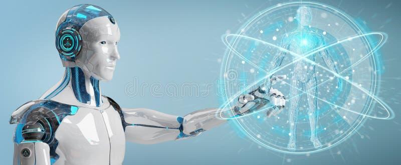 Roboter des weißen Mannes, der Wiedergabe des menschlichen Körpers 3D scannt stock abbildung
