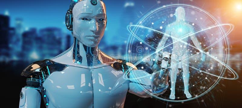 Roboter des weißen Mannes, der Wiedergabe des menschlichen Körpers 3D scannt vektor abbildung