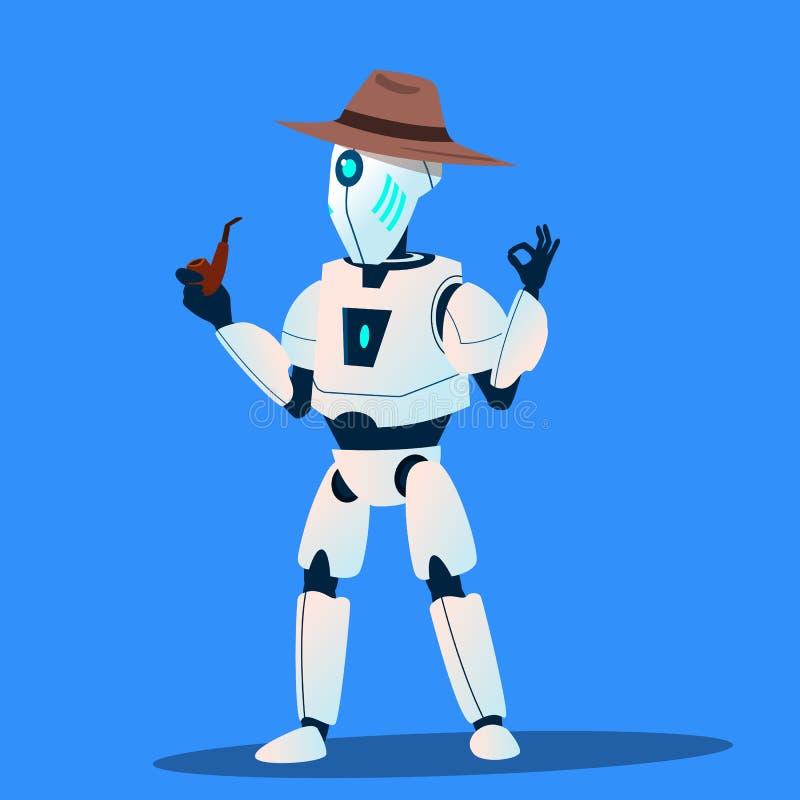 Roboter-Detektiv-In Hat And-Tabak-Rohr-Vektor Getrennte Abbildung lizenzfreie abbildung