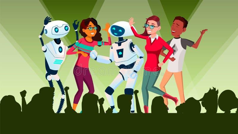 Roboter, die an der Disco mit Leute-Vektor tanzen Getrennte Abbildung vektor abbildung