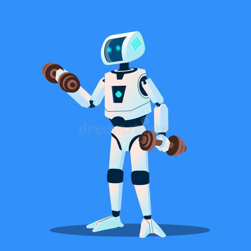 Roboter, die Sport im Turnhallen-Vektor tun Getrennte Abbildung vektor abbildung