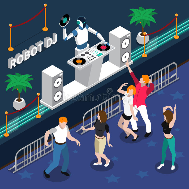 Roboter DJ und Tanzen-Leute an der Partei vektor abbildung