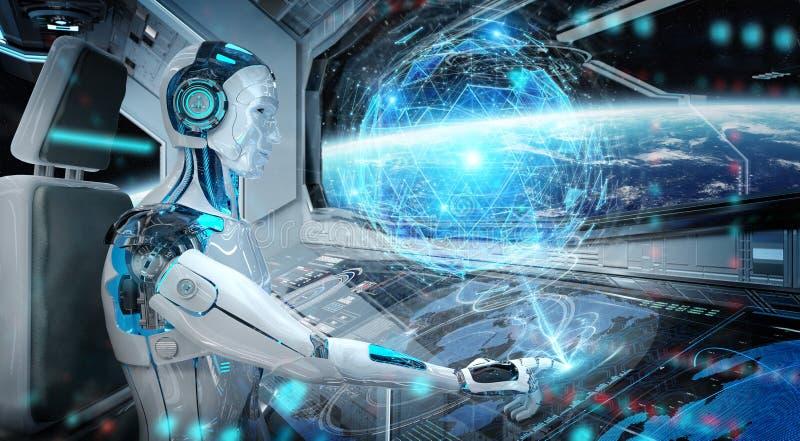 Roboter in einer Leitstelle, die ein wei?es modernes Raumschiff mit Fensteransicht ?ber Raum und digitale Wiedergabe des Kugelhol lizenzfreie abbildung