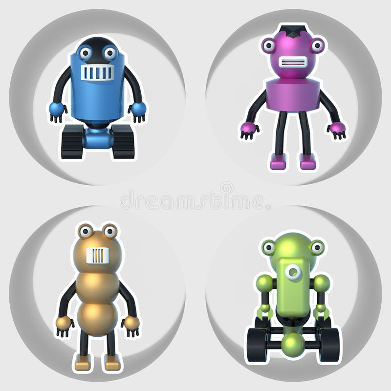 Roboter eingestellt von den Illustrationen 3D lizenzfreie abbildung
