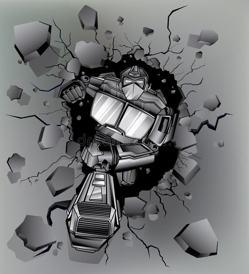 Roboter gebrochene Wand lizenzfreie abbildung