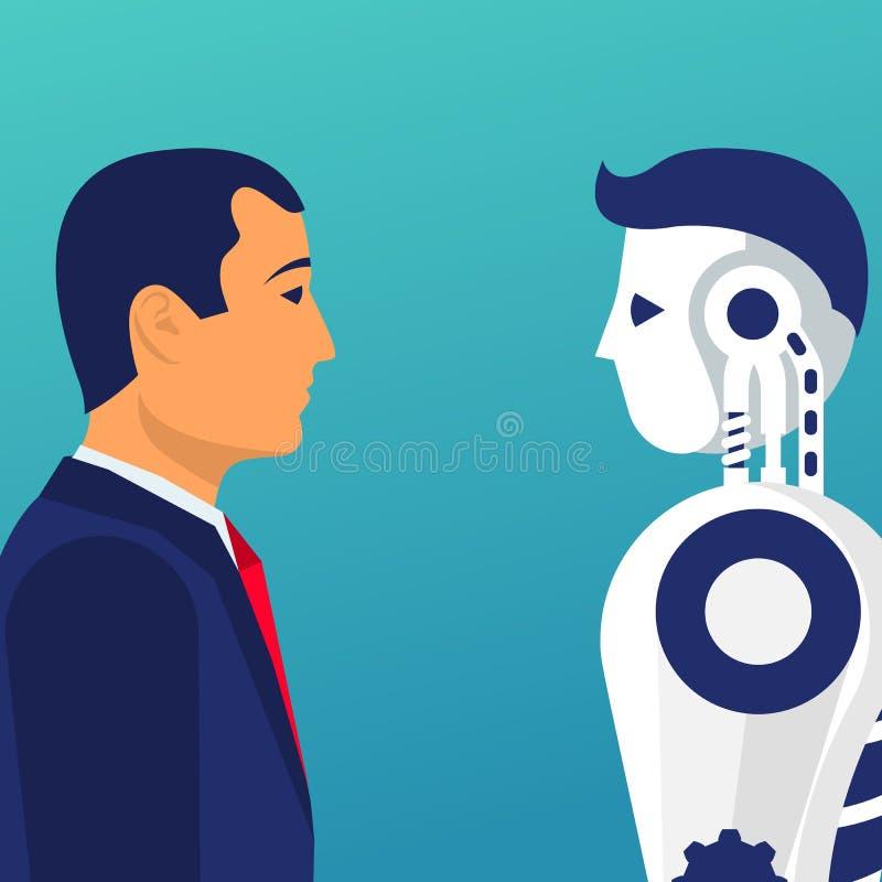 Roboter gegen Menschen Gegen Konzept lizenzfreie abbildung