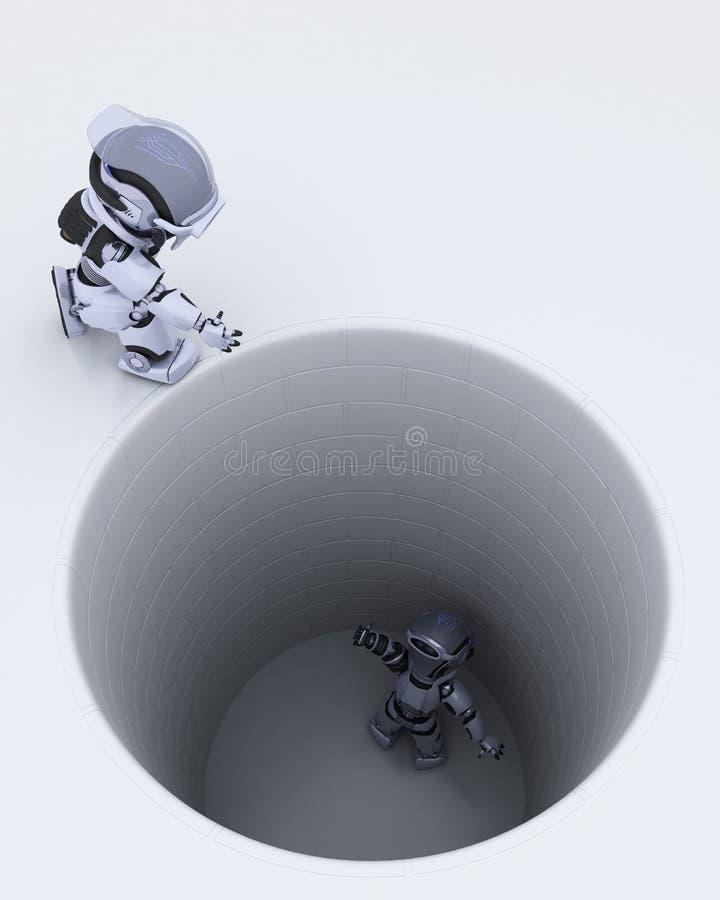 Roboter gehaftet in einer Lochmetapher stock abbildung