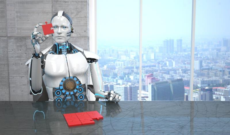 Roboter-Geschäfts-Raum-Puzzlespiel-Stücke lizenzfreie abbildung