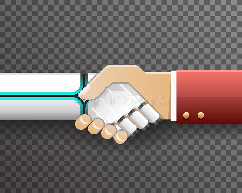 Roboter-Geschäftsmann-Handshake Innovation Technology-Partnerschafts-Symbol-transparenter Hintergrund-Design-Vektor stock abbildung