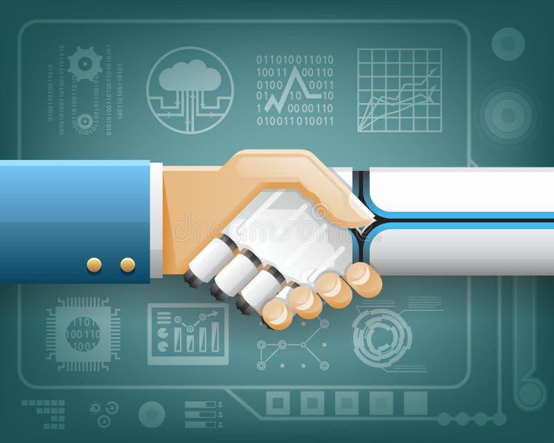 Roboter-Geschäftsmann-Handshake Innovation Technology-Partnerschafts-Symbol-transparenter Hintergrund-Design-Vektor lizenzfreie abbildung