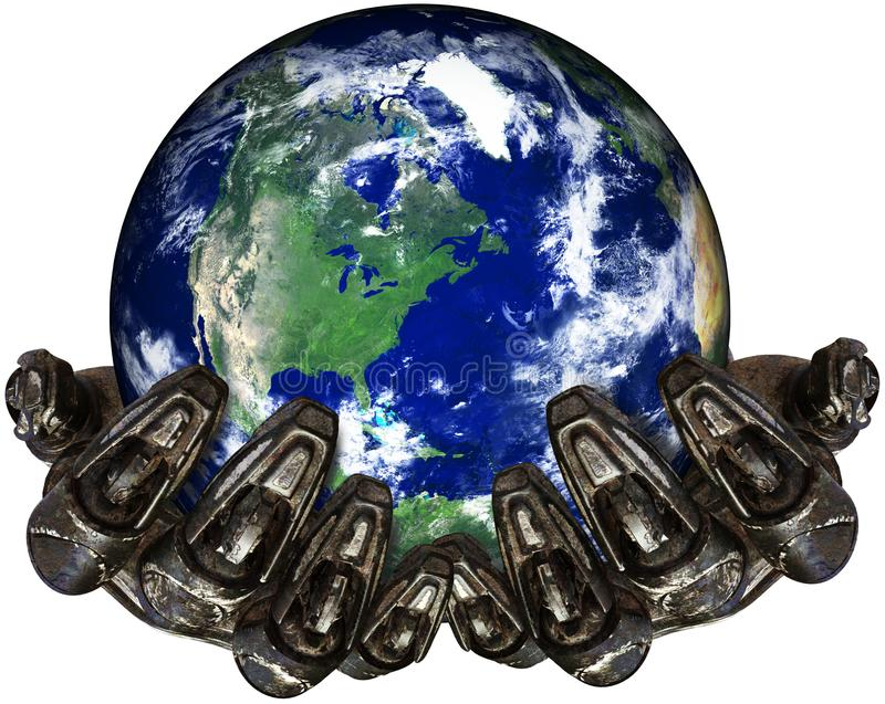 Roboter-Hände, die Erde lokalisiert, Technologie, Umwelt halten lizenzfreie abbildung