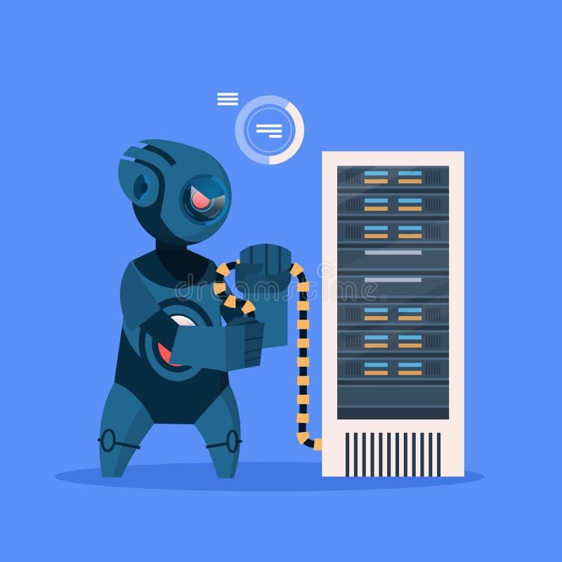 Roboter-Hacker auf blaues Hintergrund-Konzept-moderner künstliche Intelligenz-Technologie lizenzfreie abbildung