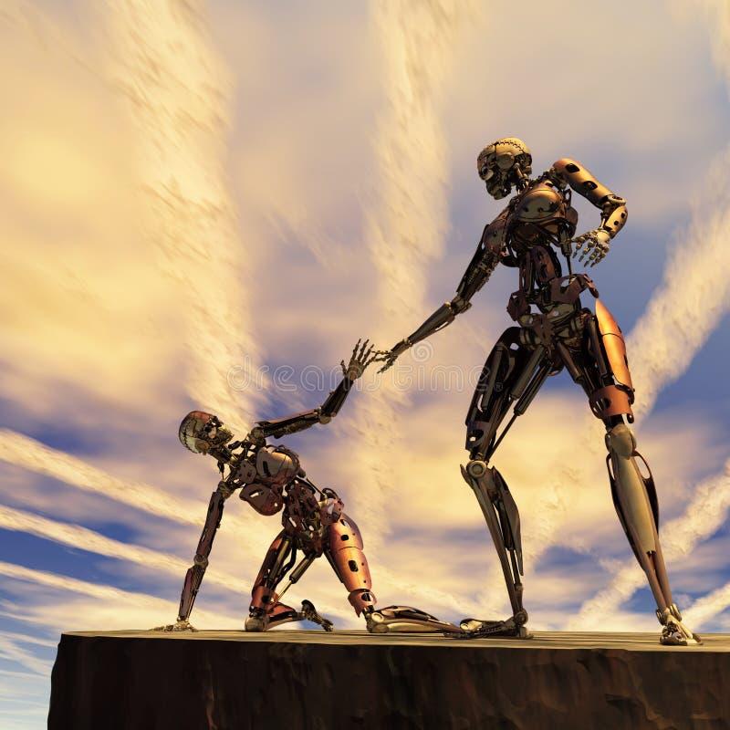 Roboter hilft anderen vektor abbildung