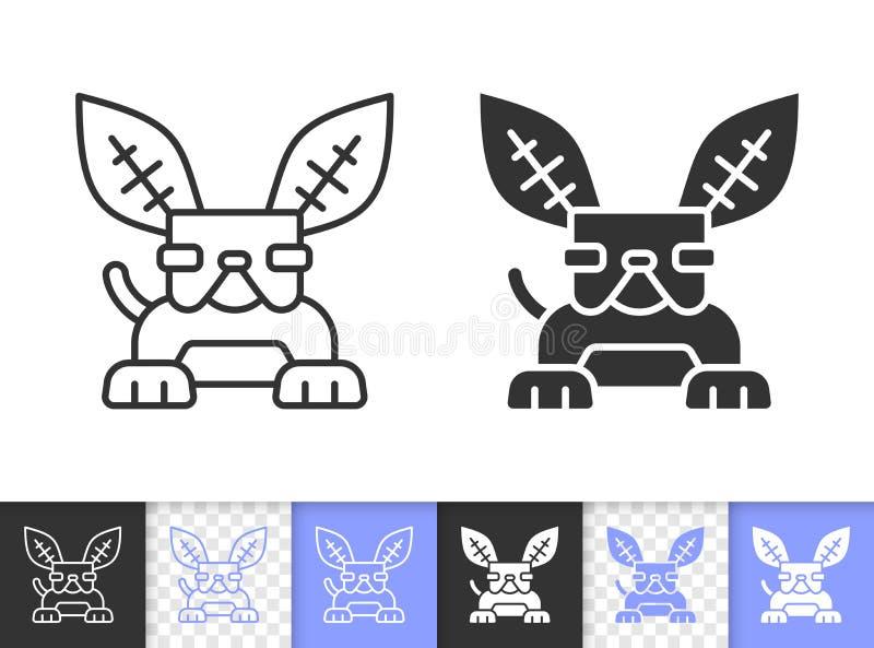 Roboter-Hundeeinfache schwarze Linie Vektorikone lizenzfreie abbildung