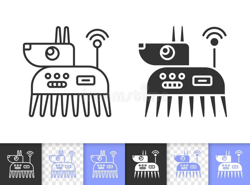 Roboter-Hundeeinfache schwarze Linie Vektorikone vektor abbildung