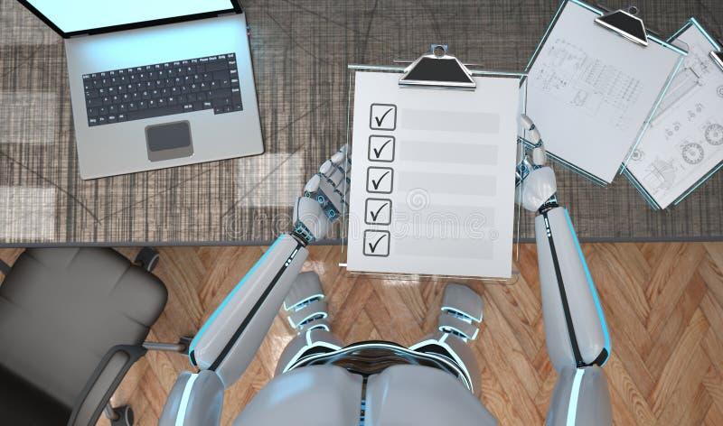 Roboter-Klemmbrett-Checkliste vektor abbildung