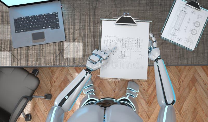 Roboter-Klemmbrett Schmematic lizenzfreie abbildung